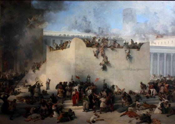 Hayez, Francesco: The Destruction of the Temple of Jerusalem. Fine Art Print/Poster. Sizes: A4/A3/A2/A1 (003422)